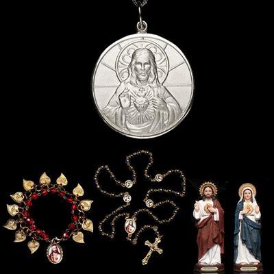 62a5bb08097e8 KIT Sagrado Coração de Jesus em prata de Lei + 4 lindos presentes - Artigos  Religiosos Católicos - Cruz Terra Santa
