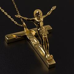 692f9d793af94 Pingente Cruz Nossa Senhora Rainha da Paz de Medjugorje folheada a ouro