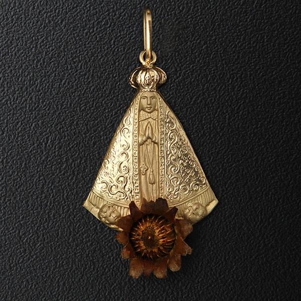 Artigos Religiosos voltar. Você está em  Artigos Religiosos . Pingentes . Pingente  Nossa Senhora de Aparecida com a Rosa de Belém Ouro 18K 2533429bc5