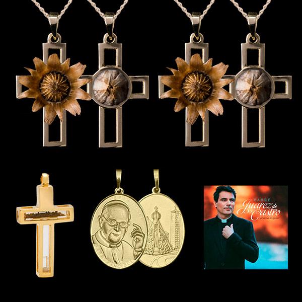 bfdd669a42569 Kit Rosa de Belém   2 Pingentes Rosa de Belém em ouro 18K + 3 lindos ...
