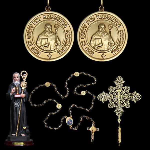 0c1cf4ef429fb Presentes Religiosos voltar. Você está em  Presentes Religiosos . Presentes  Religiosos . Kit 2 Medalhas São Bento em prata de lei chapeado a ouro + 3  lindos ...
