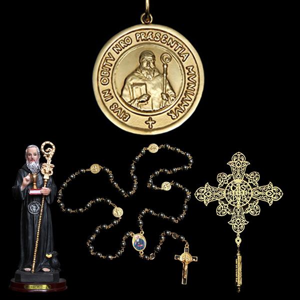 Kit Medalha São Bento em ouro 18K + 3 lindos presentes - Artigos ... 5be6821ffb
