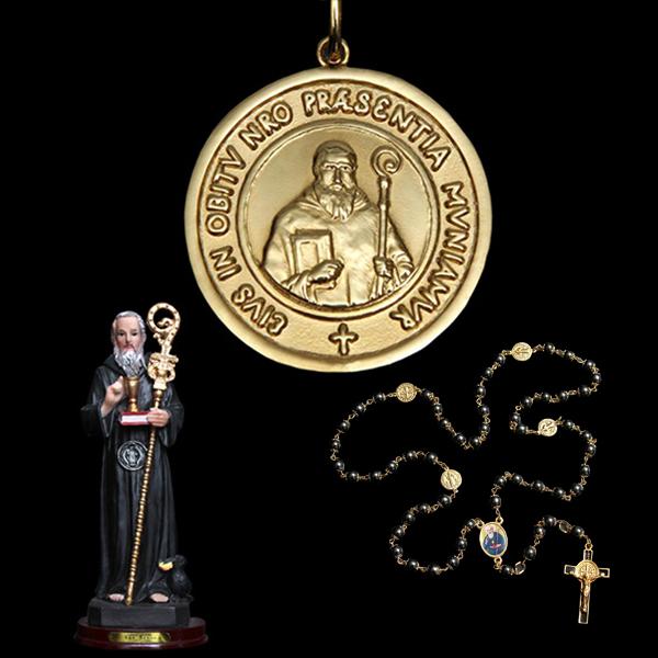 069757fbd2baf Presentes Religiosos voltar. Você está em  Presentes Religiosos . Presentes  Religiosos . Kit Medalha São Bento em prata de lei chapeado a ouro + 2  lindos ...
