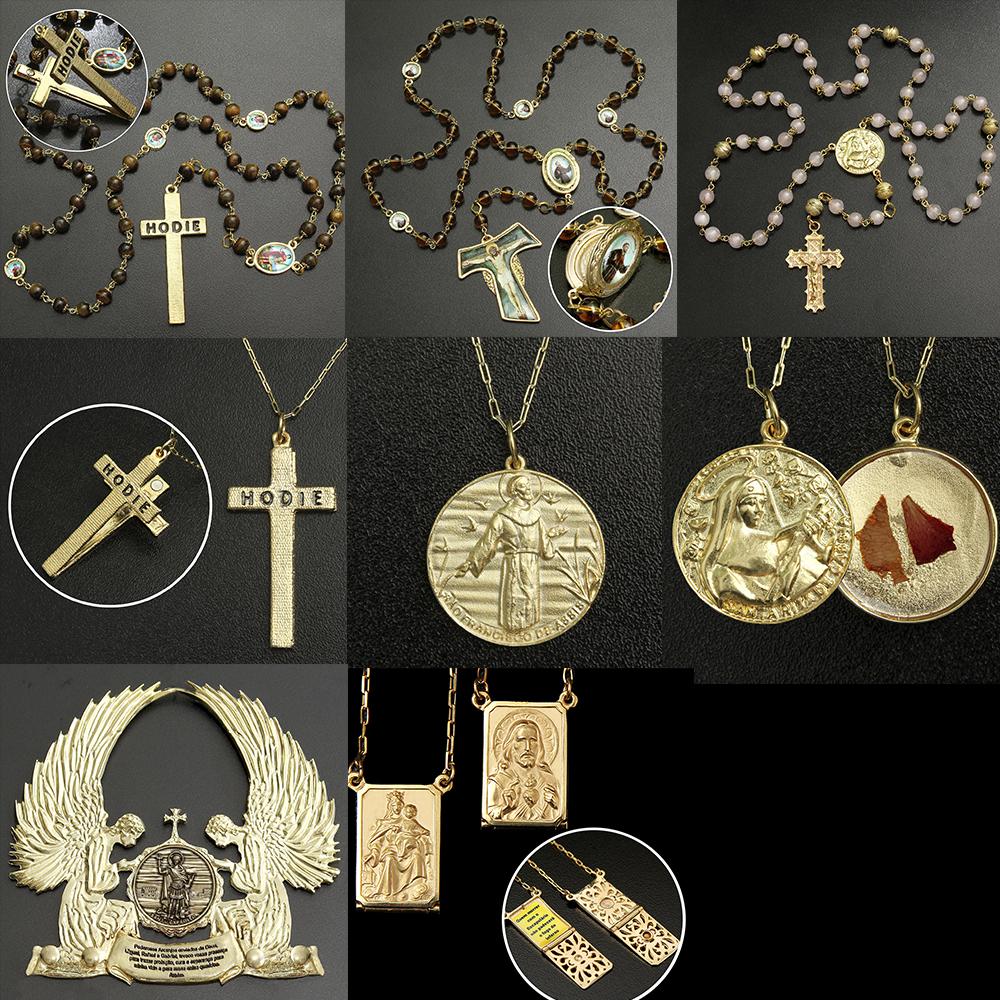 8c2bcbbbabf62 KIT Medalhão dos Arcanjos chapeado a ouro + 4 lindos presentes ...