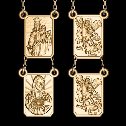 77005eacb0492 Escapulário Dupla Face Arcanjo Miguel em ouro 18K - Artigos ...