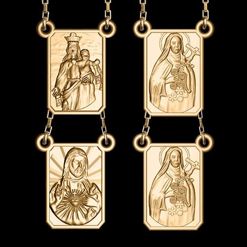 Escapulário Dupla Face Santa Terezinha em ouro 18K - Artigos ... 0ea205724f
