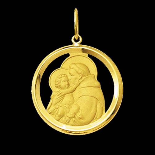 9a240412dc4ff Medalha Santo Antônio em ouro 18K - Artigos Religiosos Católicos ...