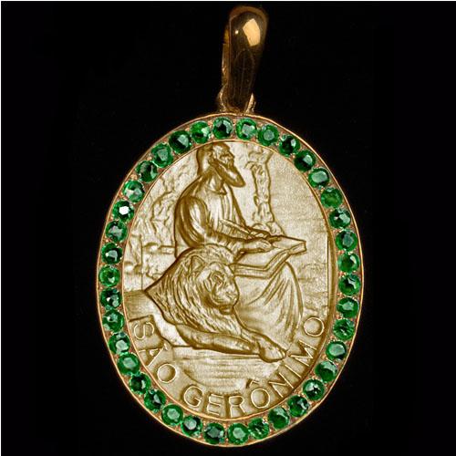 Medalha São Jerônimo em ouro 18K cravejada de Esmeraldas - Artigos ... 792bc4d545