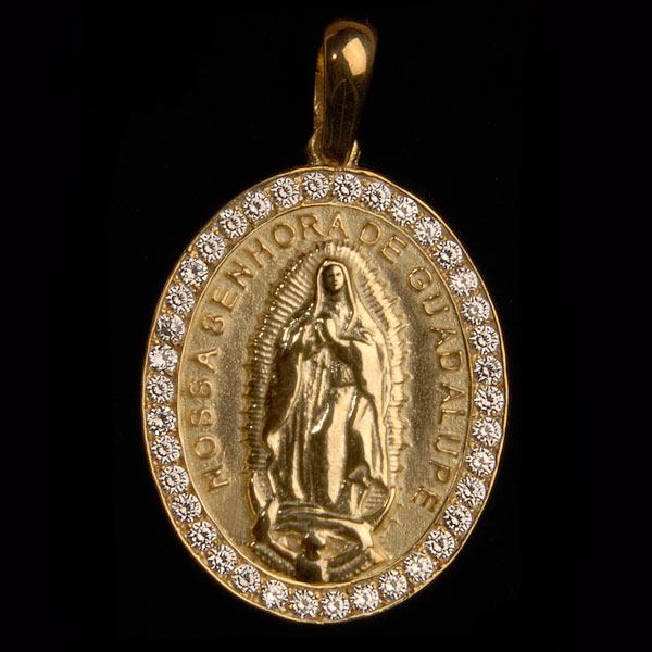 Medalha Nossa Sra. de Guadalupe em ouro 18K cravejada de Diamantes ... e56d23e16d