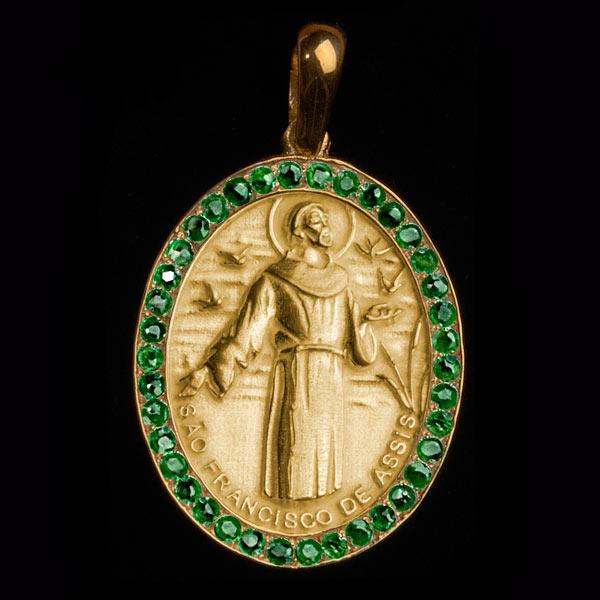 Medalha São Francisco de Assis em ouro 18K cravejada de Esmeraldas ... f8b04cf5e4