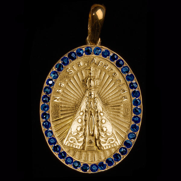fa7ac8eb77e8d Medalha Nossa Sra. Aparecida em ouro 18K cravejada de Safiras ...