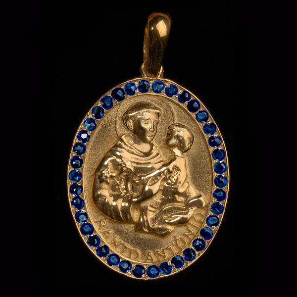 Medalha Santo Antonio em ouro 18K cravejada de Safiras - Artigos ... ea1ca7706b