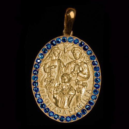 Medalha Sagrada Família em ouro 18 k cravejada Safiras - Artigos ... fb059c621b