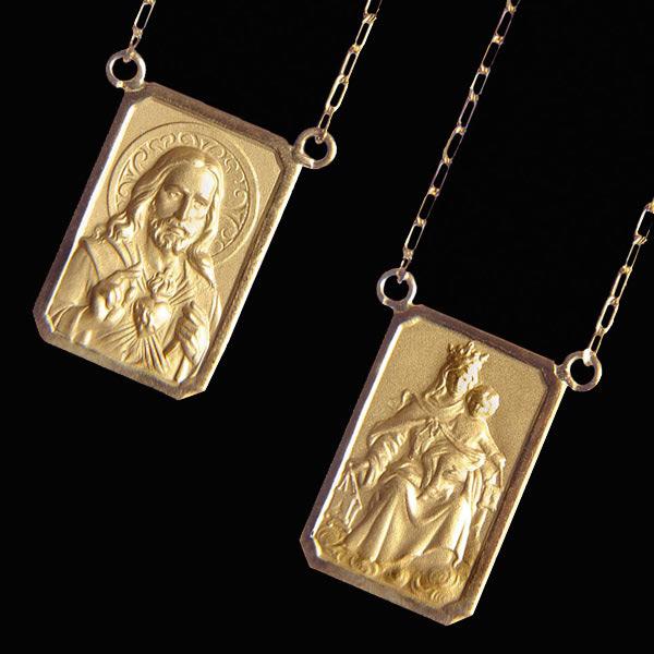 8916a49e9d1be Escapulário em ouro 18K - Artigos Religiosos Católicos - Cruz Terra ...