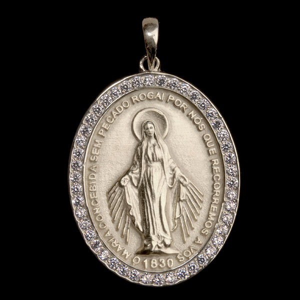 440def61c Medalha Nossa Sra. Graças em prata de lei cravejada de Zircônia ...