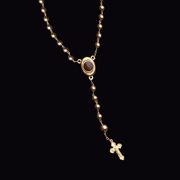 Terço católico em ouro 18 K - Artigos Religiosos Católicos - Cruz ... 76075a3dd2